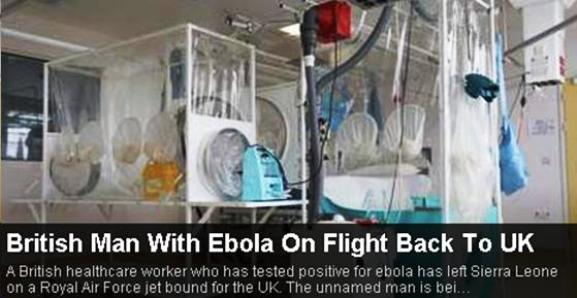 BRITISH MAN WITH EBOLA ON FLIGHT BACK TO UK